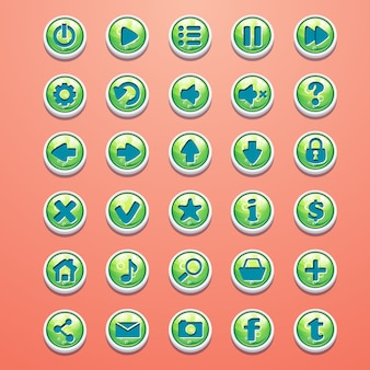 ゲームインターフェイスの丸いボタン漫画緑の大きなセット