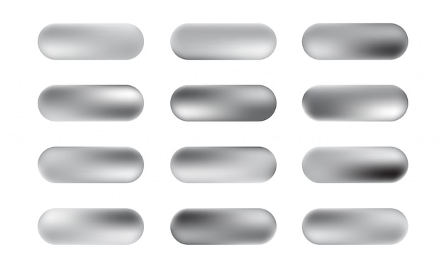 銀箔のテクスチャボタンの大きなセット。銀色のエレガントで光沢のあるメタリックグラデーションコレクション