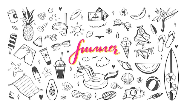 夏のデザインの落書き要素の大きなセット