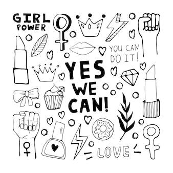 フェミニズムとボディポジティブの動きのシンボルの大きなセット。手描きの落書き要素、ステッカー、フレーズ、レタリング。女性のコンセプトデザイン。