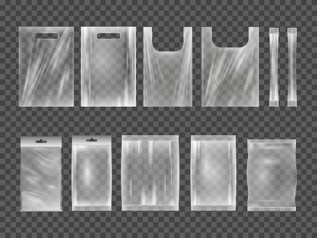 투명 한 빈 플라스틱 포장의 큰 집합입니다. 빈 식품 제품 폴리에틸렌 패키지 템플릿.