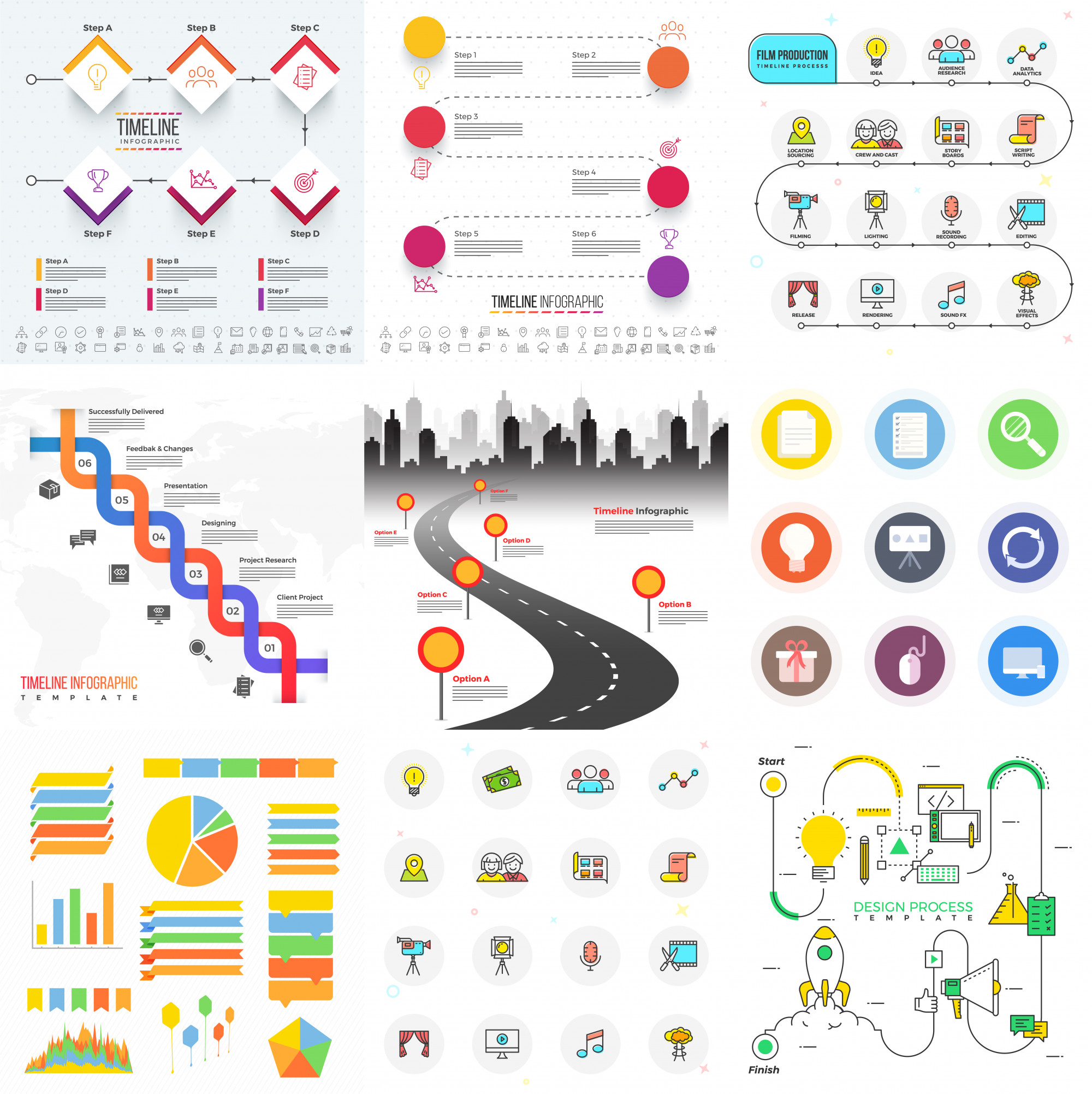 Big set of various colorful Infographic elements
