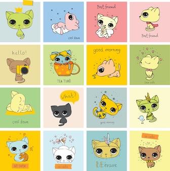 인사말 카드 디자인, 티셔츠 인쇄, 영감 포스터를 위한 벡터 귀여운 재미있는 고양이 세트.