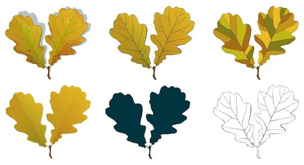 다양한 스타일의 벡터 가을 나무 잎 모양 그리기:손으로 그린 스케치, 실루엣, 플랫, 만화는 흰색 배경에 격리됩니다. 가을 오크 잎 색칠 시트.