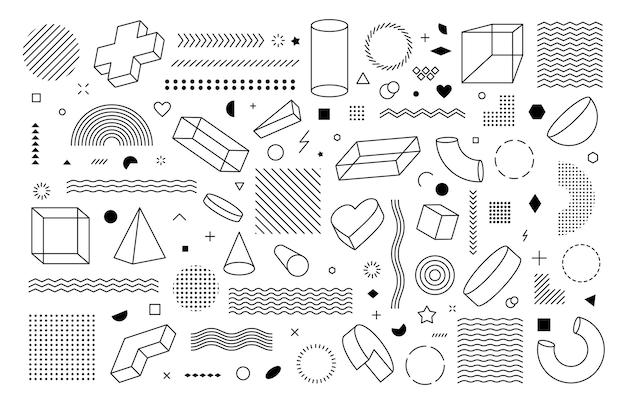 벡터 기하학적 모양의 큰 집합입니다. 컨셉 디자인을 위한 트렌디한 그래픽 요소입니다.