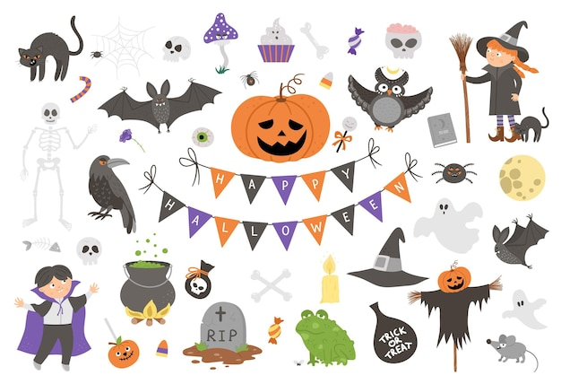 벡터 할로윈 요소의 큰 집합입니다. 전통적인 samhain 파티 클립 아트. 잭오랜턴, 거미, 유령, 해골, 박쥐, 마녀, 뱀파이어가 있는 무서운 컬렉션. 가을 휴가 평면 스타일 디자인 팩