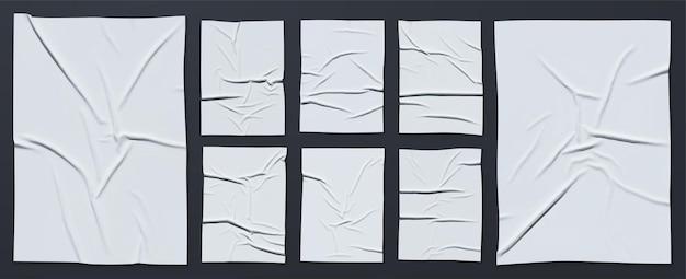 ベクトルの現実的なしわくちゃの湿った接着紙の大きなセット