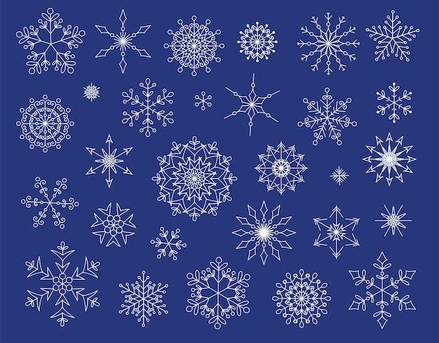 ベクトル雪片の大きなセット。クリスマスデザインのための29の素敵な要素。白い背景で隔離の平らな雪のアイコン。新年の飾り。