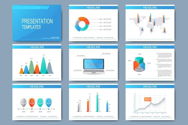プレゼンテーションスライド用のベクターテンプレートの大きなセット。グラフとチャートを使用した最新のビジネスデザイン