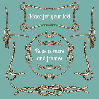 Большой набор старинных канатных уголков и рам. коллекция кабелей hipster с местами для вашего текста.