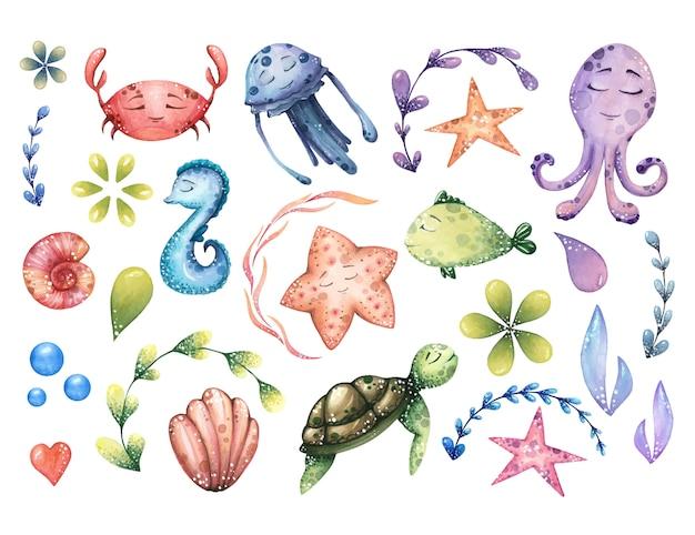 海の動物と抽象的な要素と水彩の海洋イラストの大きなセット