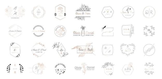 結婚式のモノグラムロゴコレクションの大きなセット、招待カードの手描きのモダンなミニマルで花のテンプレート、日付を保存、レストラン、ブティック、ベクトルのカフェのエレガントなアイデンティティ