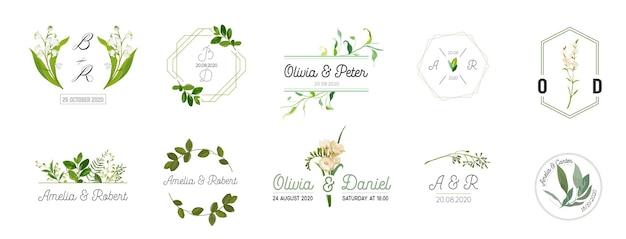 結婚式のモノグラムロゴコレクションの大きなセット、招待カードの手描き水彩素朴な花のテンプレート、日付を保存、レストラン、ブティック、ベクトルのカフェのエレガントなアイデンティティ