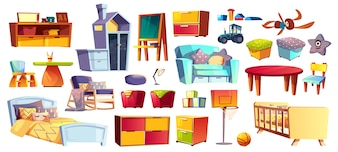 Big set of wooden furniture, soft toys and accessories for children room, bedroom cartoon