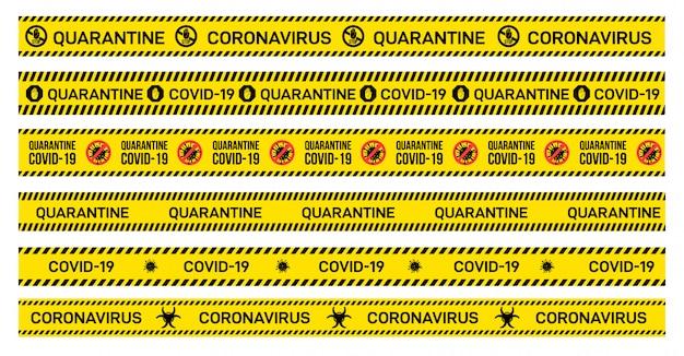 検疫、covid-19、コロナウイルスが書かれた黄色の注意テープの大きなセット。発生の警告サイン。図。白い背景で隔離されました。