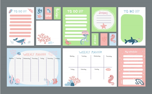 Big set of pastel planner with marine life cute illustrations.