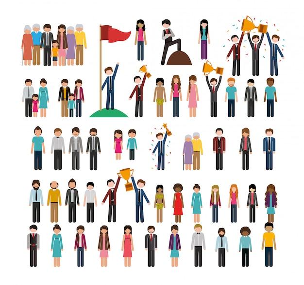 Big set of people activities