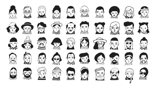 Big set of people avatars for social media, website. doodle portraits fashionable girls and guys. trendy hand drawn icons collection. black and white vector illustration.