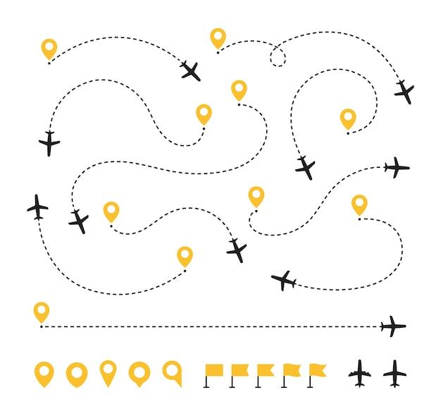 Большой набор линий маршрута самолета. концепция путешествия самолета с булавками карты, точками gps. концепция или тема точки старта полета. иллюстрация.