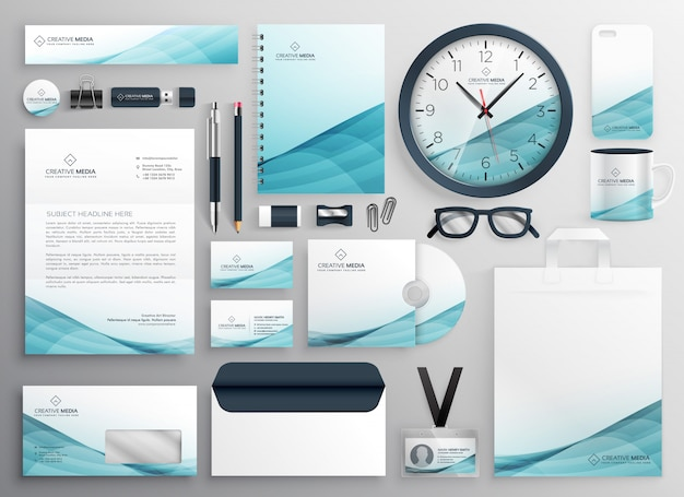 Big set of professional brand identity business stationery