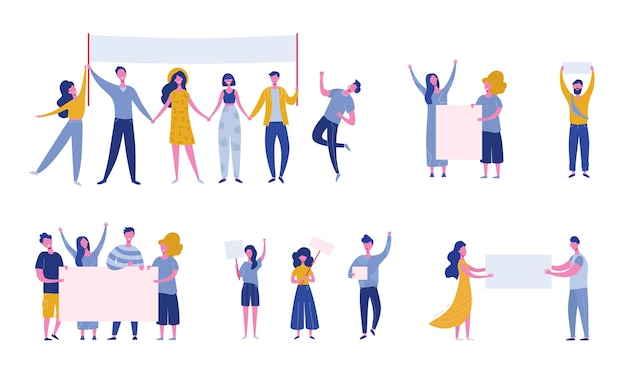 Big set of protesting people holding banners and placards. men and women characters on political meeting, parade or rally. group of male and female protesters or activists. flat illustration