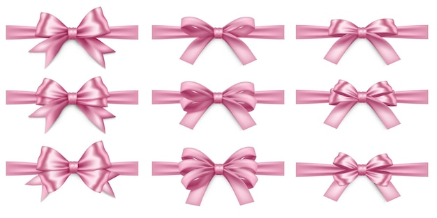 Big set of realistic pink ribbons and bows isolated