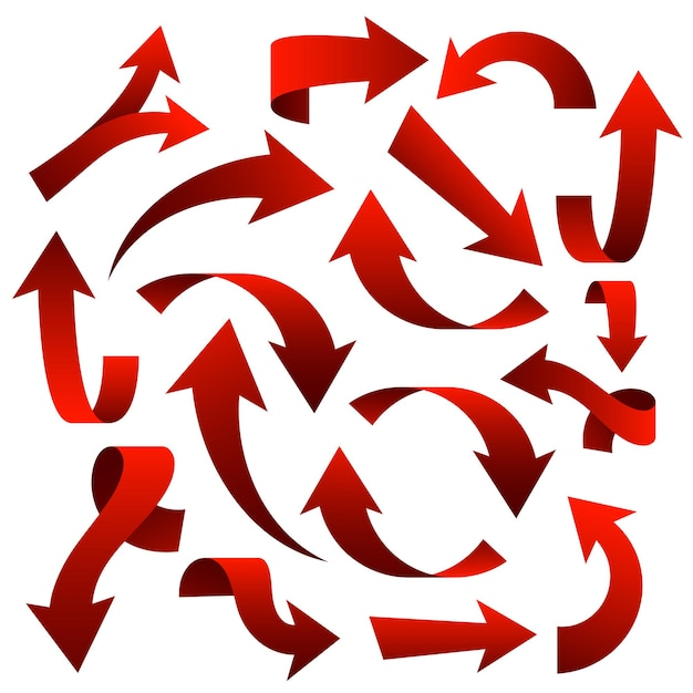 Big set of red arrow stickers on white background