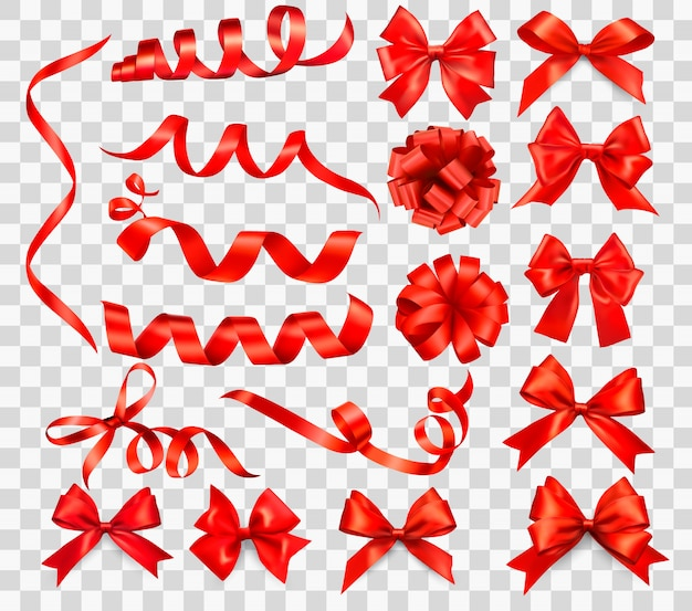 Big set of red gift bows with ribbons. illustration.
