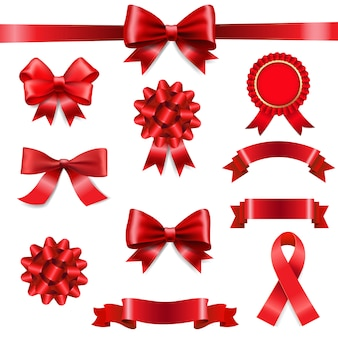 Big set ribbon bow white background