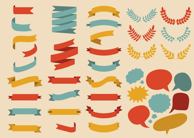 Big set of ribbons and speech bubbles in flat style