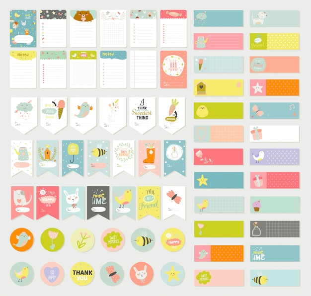 Big set of romantic and cute vector cards, notes, stickers, labels, tags with spring illustrations and wishes.