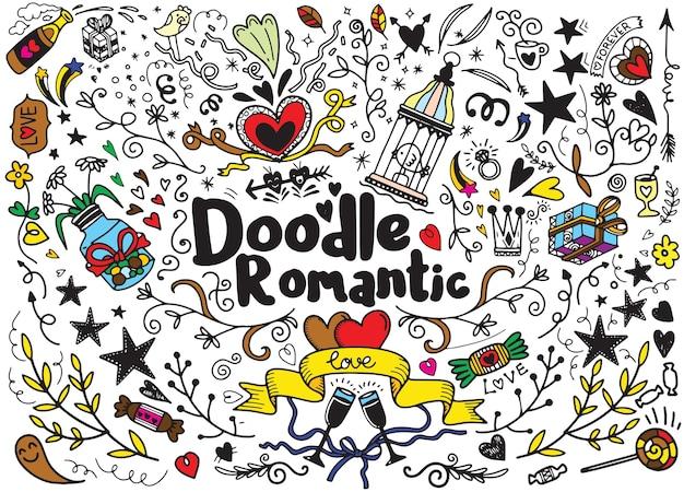 Big set of romantic style hand drawn elements