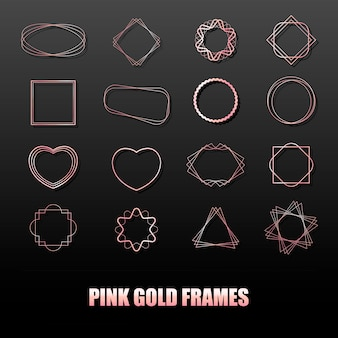 Big set of rose gold metal frames