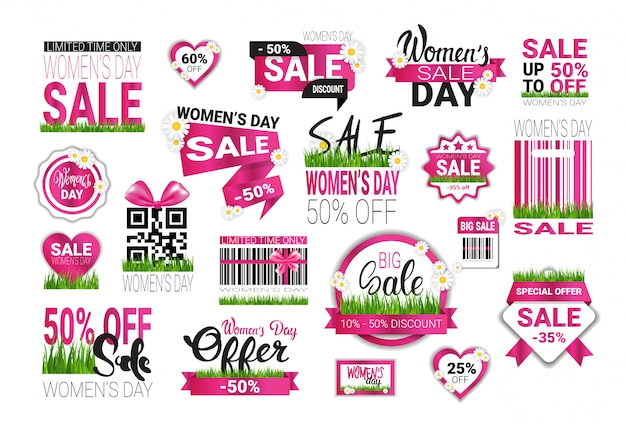 Big set of sale stickers for international womens day special offer signs template badges promotion isolated