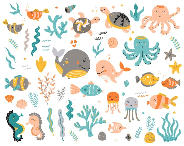 Big set of sea animals for kids