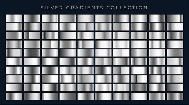 Grande insieme di sfumature argento o platino