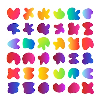 Big set of simple colorful organic shapes liquid rainbow gradient background stain swatches