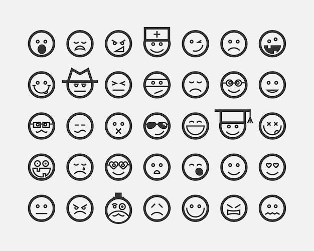 큰 세트 미소 얼굴. 컬렉션 미소 아이콘 벡터 기호입니다. 웃는 얼굴 만화 캐릭터.