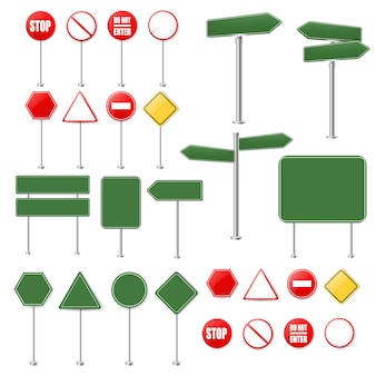 Big set stop signs and traffic sign collection white background