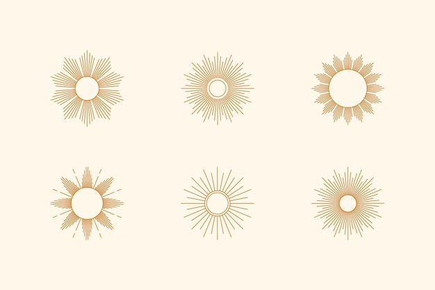 Big set of sun shapes and sunburst in minimal trendy style. vector icon, logo, labels, badges isolated. boho illustration for t-shirts print, wall art, patterns