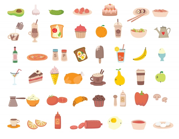 Big set of tasty food and drink related objects and icons. for use on poster, banner, card and pattern collages.