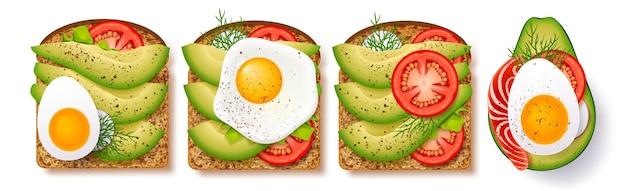 Большой набор тостов со свежими ломтиками спелой приправы авокадо, жареным яйцом, помидорами и укропом и красной рыбой