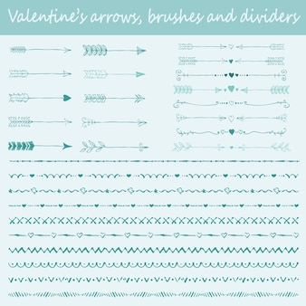 Big set of valentine's hand drawn brushes,arrows and text dividers for design of greeting cards
