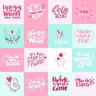 Big set of valentines day romantic greeting card