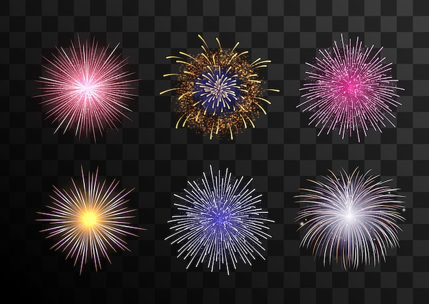 Big set of various fireworks with brightly shining sparks
