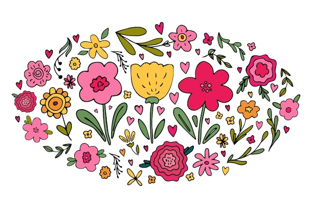 Big set of various hand drawn simple floral doodles  flower branch heart cute spring flowers