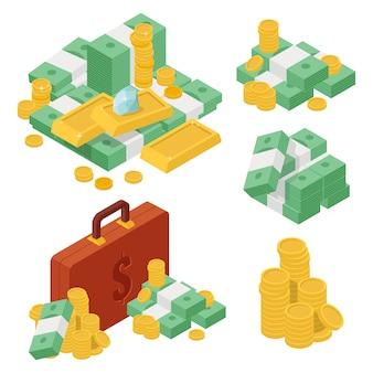 大きなセット金貨の様々なヒープゴールドコインゴールデンバードルパケット