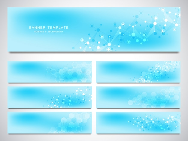 Big set of vector banners and headers for site with molecules background and neural network.