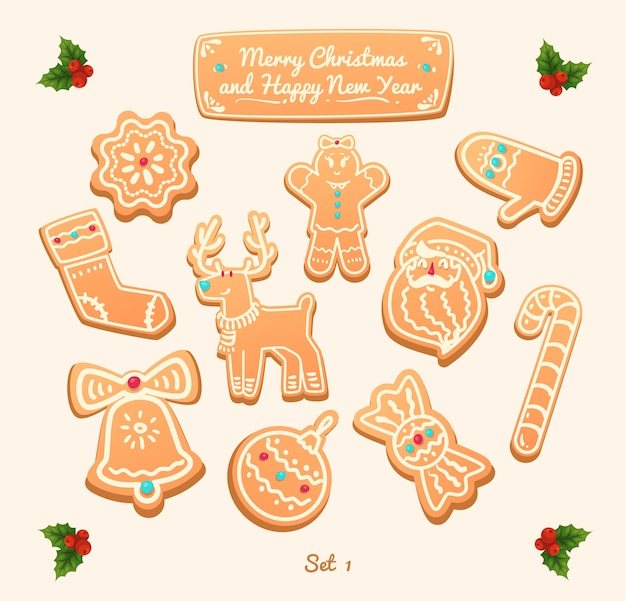 Big set of vector gingerbread cookies on white background.