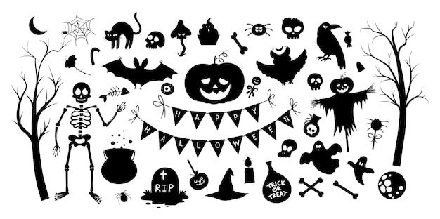 Big set of vector halloween silhouette elements traditional samhain party black and white clipart